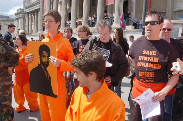 Demonstrators in Trafalgar Square last June demanding immediate action by the Brown government to secure the release of British resident Binyam Mohamed from imprisonment in Guantanamo Bay