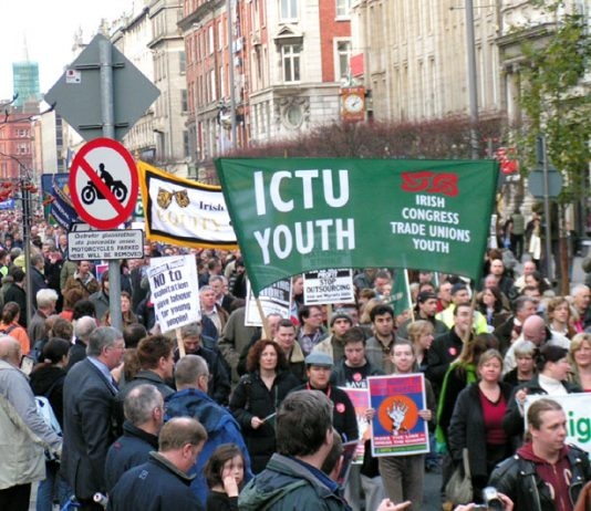 Section of the 100,000-strong denonstration in Dublin during the general strike on  December 5 2005 in support of the occupation by Irish Ferries workers' against cheap labour