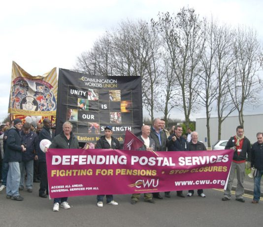 Royal Mail workers march in Milton Keynes – face privatisation at the hands of a government desperate for cash