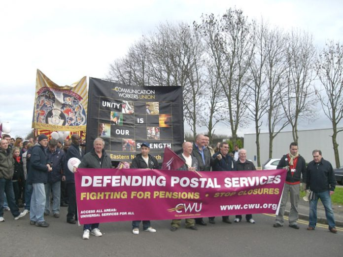 Royal Mail workers march in Milton Keynes –face privatisation at the hands of a government desperate for cash