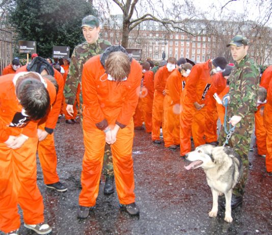 Anti-Guantanamo protest outside the US embassy in London on January 11 2008, the fifth anniversary of the first prisoner being detained at Guantanamo Bay