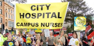 Nurses on a march in Nottingham against cuts in NHS services
