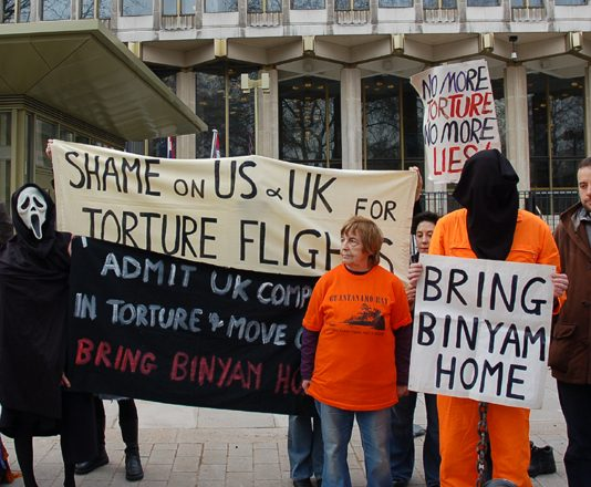Demonstration outside the US Embassy on February 17 by the successful campaign to get Binyam returned to Britain