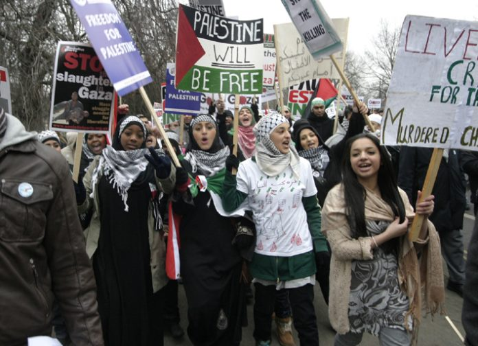 Youth on a march in London in January against the Israeli attack on Gaza