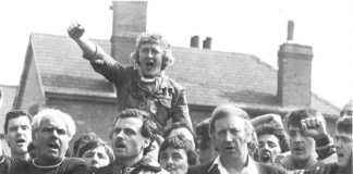 ARTHUR SCARGILL, NUM President on the picket line at Ollerton, where David Jones was killed