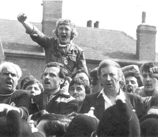 ARTHUR SCARGILL, NUM President on the picket line at Ollerton, where David Jones was killed