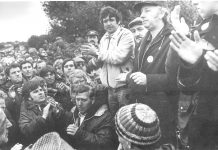 Scargill speaks to pickets at Orgreave. He told reporters later: 'Ther have been scenes of almost unbeleivable brutality . . . reminiscent of a Latin American police state'