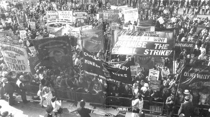 Workers Revolutionary Party and Young Socialists banners on the lobby outside  the TUC in Brighton demand the organisation of the General Strike