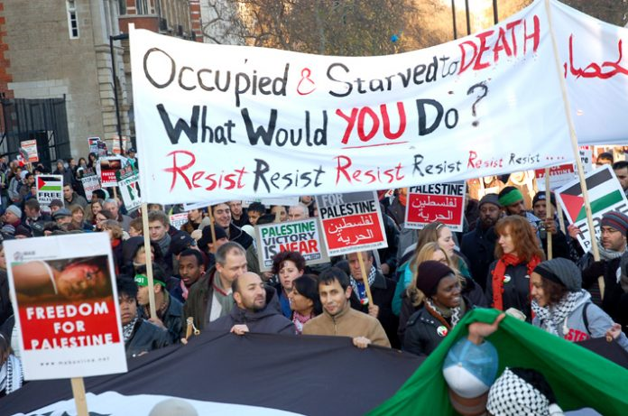 Marchers in London on January 3 express their support for the Palestinian resistance in Gaza during Israel's bombing campaign