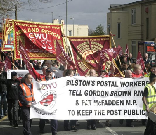Postal workers marching through Wolverhampton last weekend against privatisation of Royal Mail