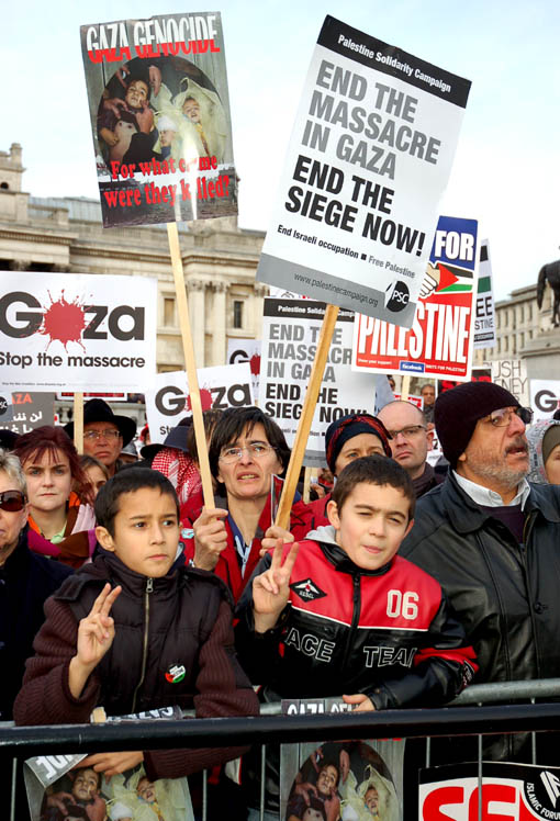 Young protesters in Trafalgar Square condemning Israel's bombing of Gaza in January