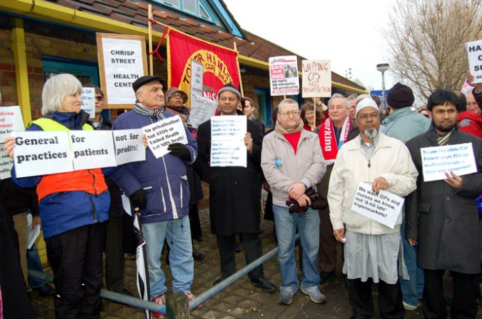 Tower Hamlets doctors, local residents and trade unionists demonstrate against the privatisation of GP surgeries in the borough