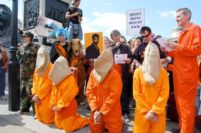 Reprieve demonstration for the release of Binyam Mohamed from Guantanamo Bay in Trafalgar Square last summer