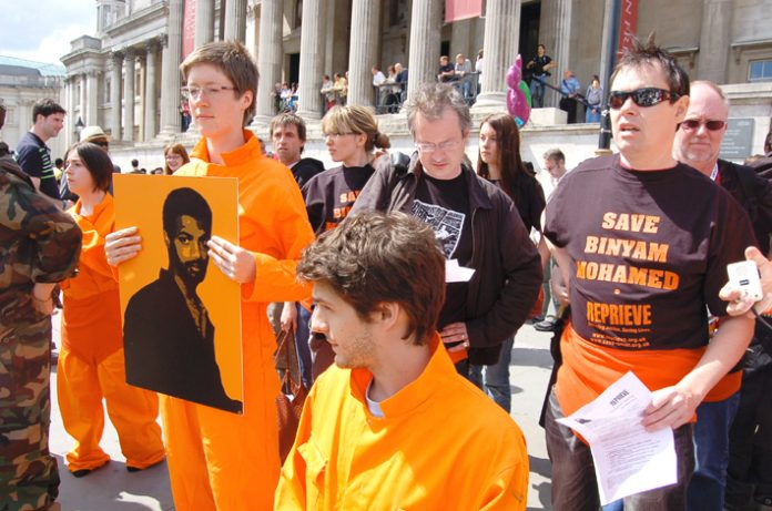 Demonstration last June demanding the release of Binyam Mohamed from Guantanamo Bay prison