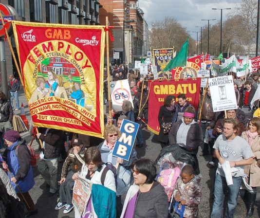 Angry Remploy workers with their banners were part of a large GMB contingent on Saturday's demonstration