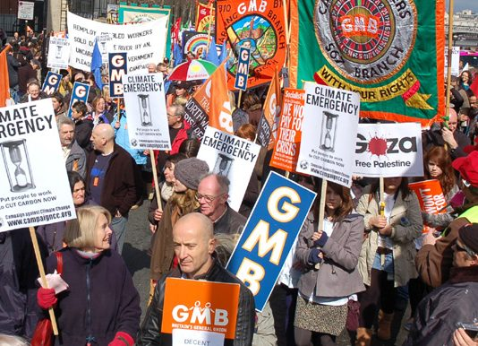 Marchers in London on Saturday against poverty, war and about climate change