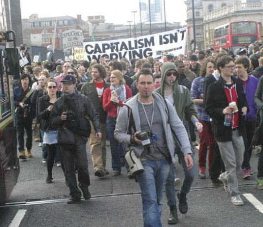 Banner with a clear message on the march to the Bank of England