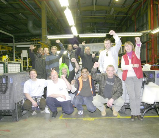 Workers occupying the Visteon factory in Enfield