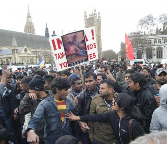 Thousands of Tamils poured into Parliament Square yesterday, after police broke up their overnight sit-down protest on Westminster Bridge