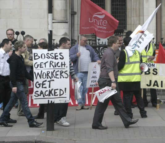 Protest outside the  High Court in London on Monday opposing the attempt to jail the Enfield occupation leaders
