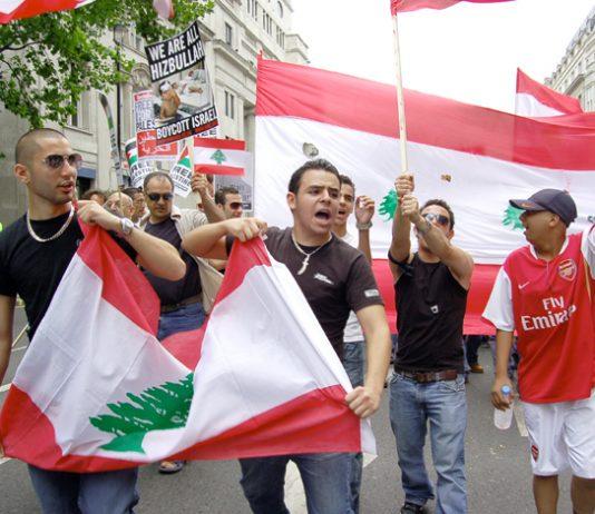 Marchers in London in July 2006 condemn the Israeli bombing of Lebanon