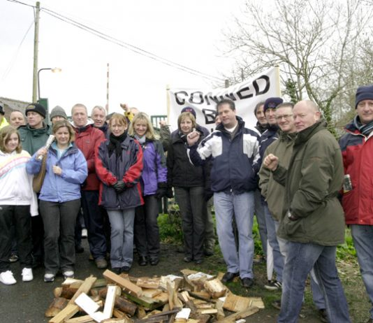 Workers and their families outside the Stead McAalpin factory in Cummersdale yesterday
