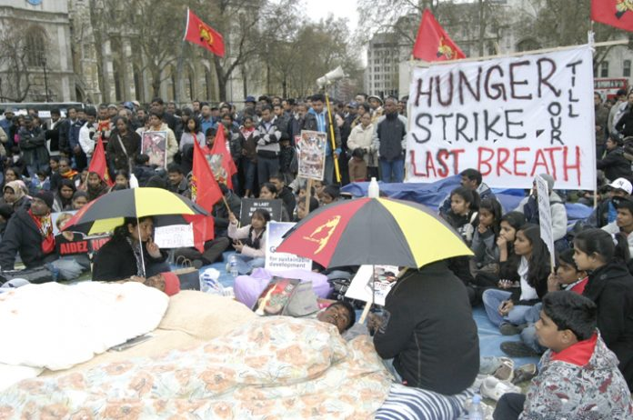 The two young Tamil hunger strikers are determined to force the British government to stop the genocide of Tamils in Sri Lanka or die in the attempt