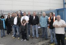 Workers from Basildon and Enfield Visteon plants on the Enfield Visteon picket line yesterday morning