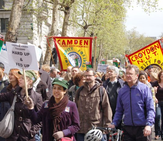 NUT members marching in London during  last year's national strike which was the biggest in 21 years