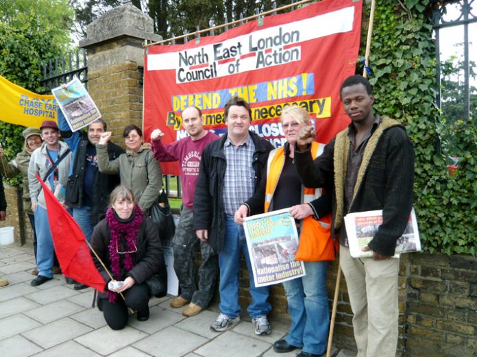 Sacked Visteon workers joined the picket. Chase Farm is their local hospital