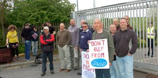 Pickets and supporters outside the Enfield Visteon plant – they are determined to win this struggle for jobs