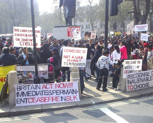 The continuing protest outside parliament demanding that the Brown government acts to halt the Sri Lankan army shelling of Tamil areas in northern Sri Lanka, which has already killed and wounded many thousands of people