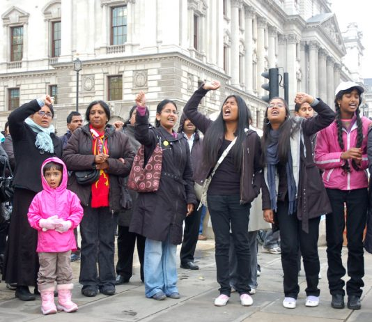 'Stop using – chemical weapons!', 'Indian army – go home!', 'Tamil Tigers – freedom fighters!' chanted the 300-strong demonstration opposite the Houses of Parliament yesterday afternoon