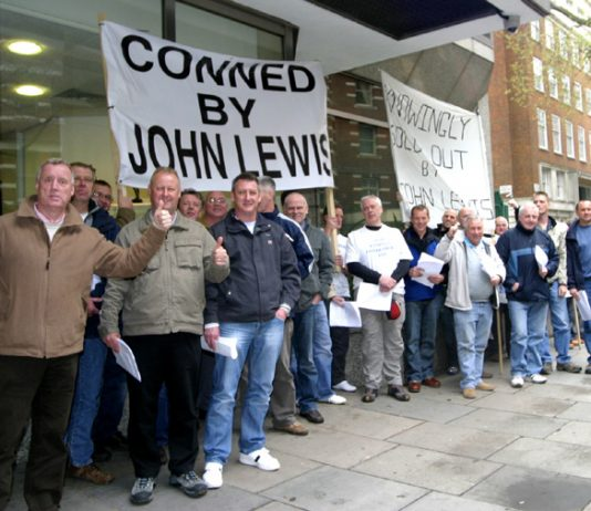 Sacked Stead McAlpin and Birtwistle workers outside John Lewis offices in London yesterday