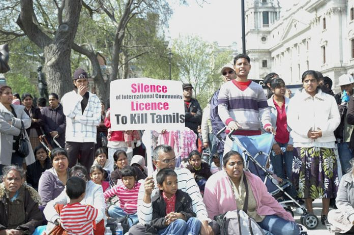 Tamils continuing their non-stop demonstration against Sri Lankan army atrocities outside parliament yesterday