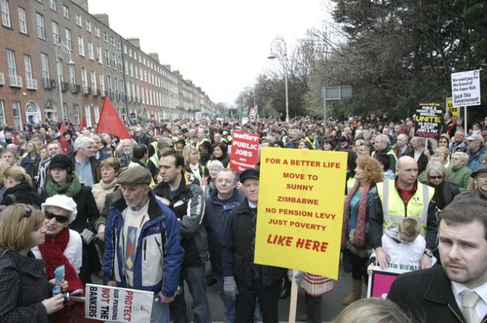 The 125,000-strong Dublin demonstration in defence of jobs and wages on February 21