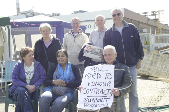 Sacked Visteon workers in Basildon yesterday, demanding Ford terms and contract conditions