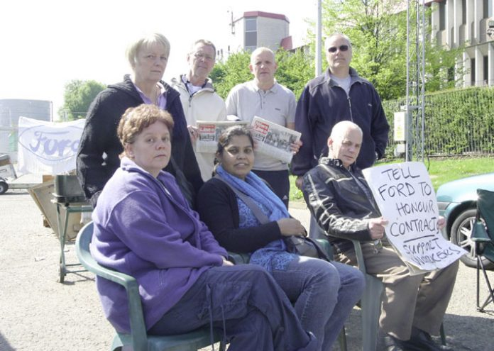 Sacked Visteon workers picketing outside the company's Basildon plant