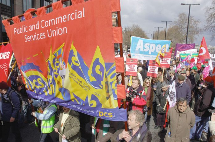 PCS banner on the TUC's 'Put People First' demonstration on March 28 in London, just before the G20 summit