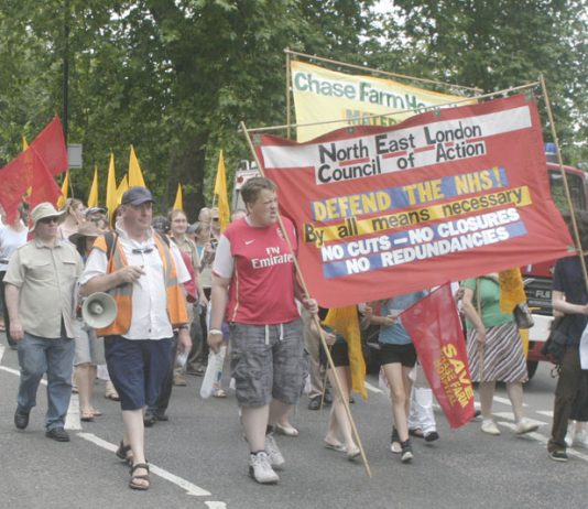 The North-East London Council of Action marching to defend Chase Farm Hospital – a call was made yesterday for a  mass demonstration on June 6 against the closure plans