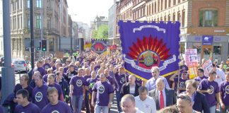 National FBU demonstation in Liverpool in September 2006 in support of the Merseyside firefighters strike against cuts in the service