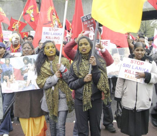 Demonstration in London on April 18 against the Sri Lankan Army bombardment of the Tamil areas
