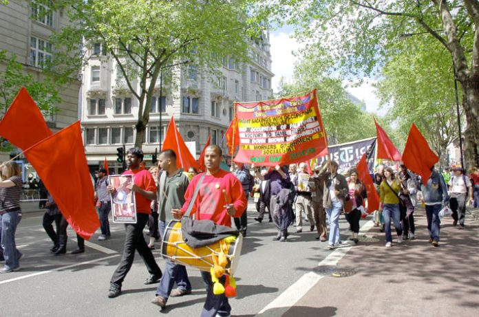 Workers Revolutionary Party banner on the May Day demonstration in London