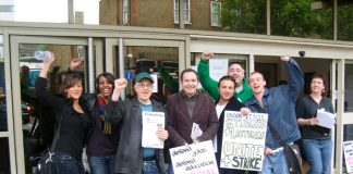 Striking London Met lecturers on the picket line were joined by enthusiastic students yesterday morning
