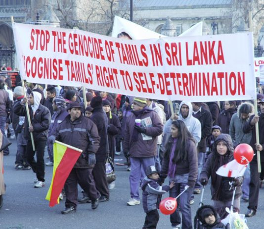 Banner on the 125,000-strong demonstration in London on January 31st condemning the Sri Lankan Army's genocidal attacks on the Tamils