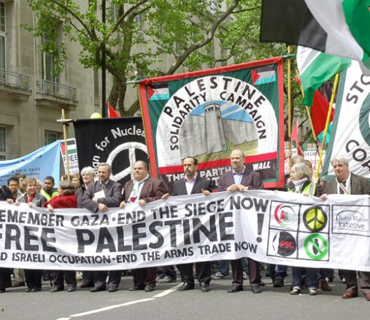 The front of Saturday's 5,000-strong demonstration in London to mark the 61st anniversary of Nakba Day – the Palestinian catastrophe