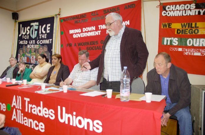 All Trades Unions Alliance National Secretary DAVE WILTSHIRE addressing the meeting