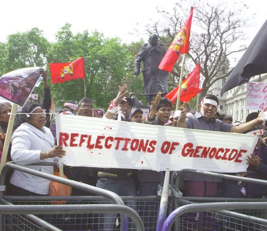 Tamils in Parliament Square on Monday demonstrate against the Sri Lankan Army genocide against the Tamil people