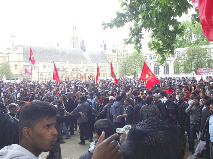 Thousands of Tamils demonstrated outside the House of Commons for the 45th day yesterday