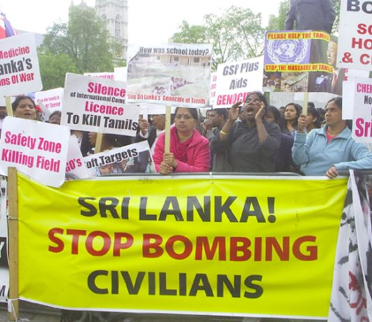 Demonstration in Parliament Square on April 29th against the Sri Lankan Army's genocidal attacks on Tamils in Sri Lanka – the continuous protest began on April 7th